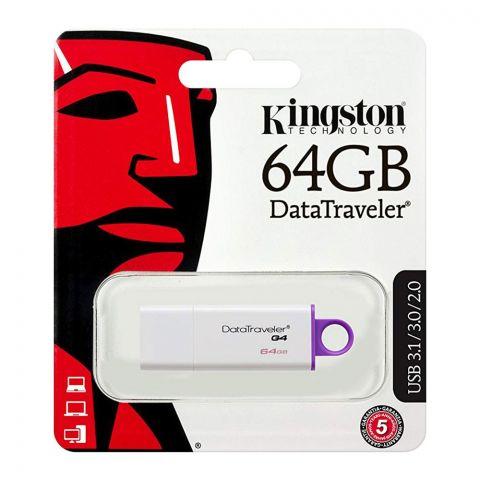 Kingston 64GB Data Traveler G4 USB Drive, USB 3.1/3.0/2.0