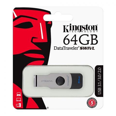Kingston 64GB Data Traveler Swivl USB Drive, USB 3.1/3.0/2.0