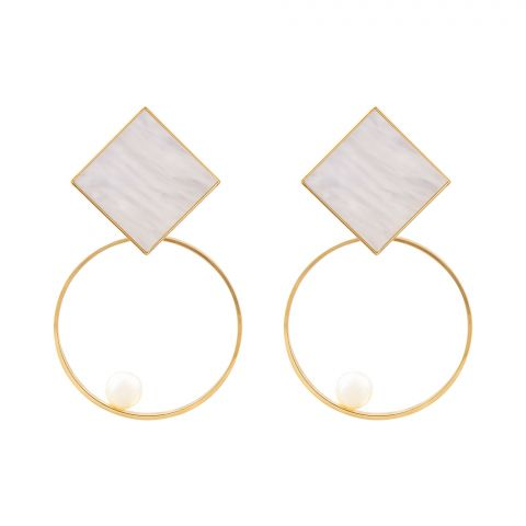 Girls Earrings, Golden, Hollow, NS-083