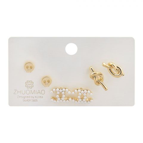 Channel Style Girls Earrings Set, 3 Paris, NS-084