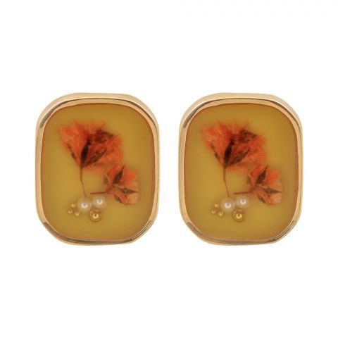 Flower Girls Earrings, Yellow, NS-085