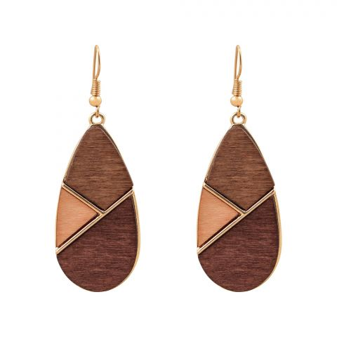 Girls Earrings, Brown, NS-087