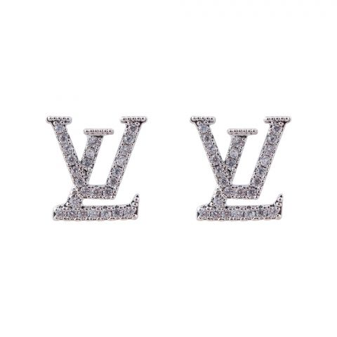 LV Style Girls Earrings, Silver, NS-0101